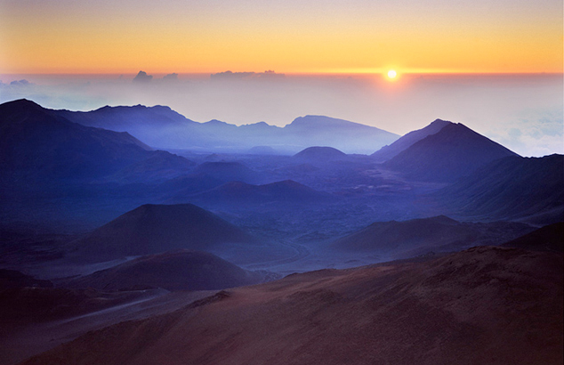 Sunrise at the cratered top of Mt. Haleakela, Maui, Hawaii